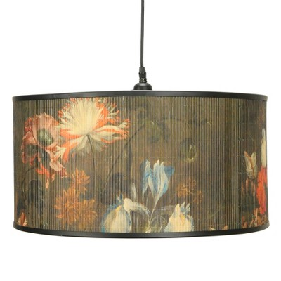 Pendant Lamp with Bamboo Floral Print Shade - 3R Studios
