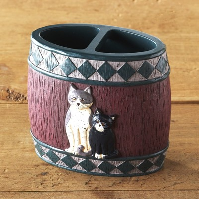 Lakeside Country Cats Ceramic Toothbrush Holder with 2 Top Slots for Storage