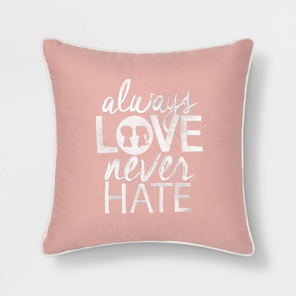 "Image of ""Boy Meets Girl Always Love 18""""x18"""" Throw Pillow, Pink"""