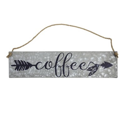 Coffee  Galvanized Metal With Rope Hanger Wall Decor Gray - E2 Concepts