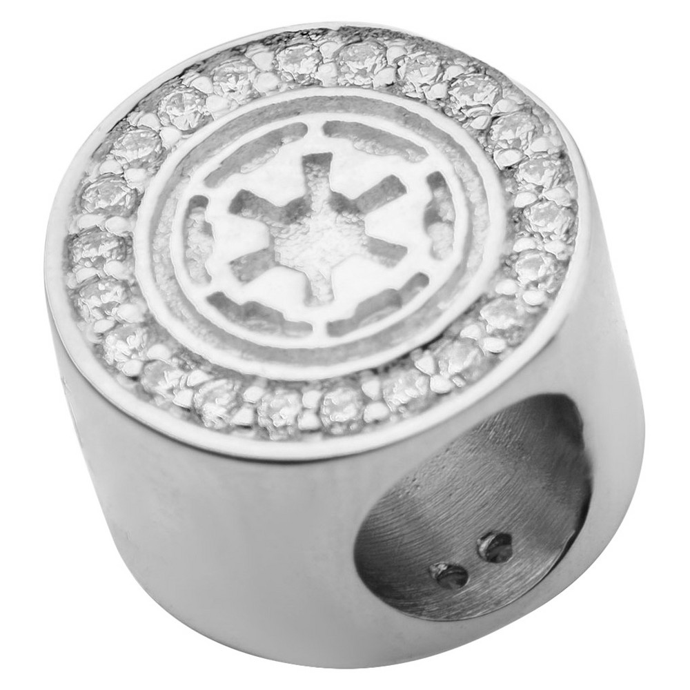 Men's 'Star Wars' Galactic Empire Symbol 925 Sterling Silver Bead Charm with Clear CZ