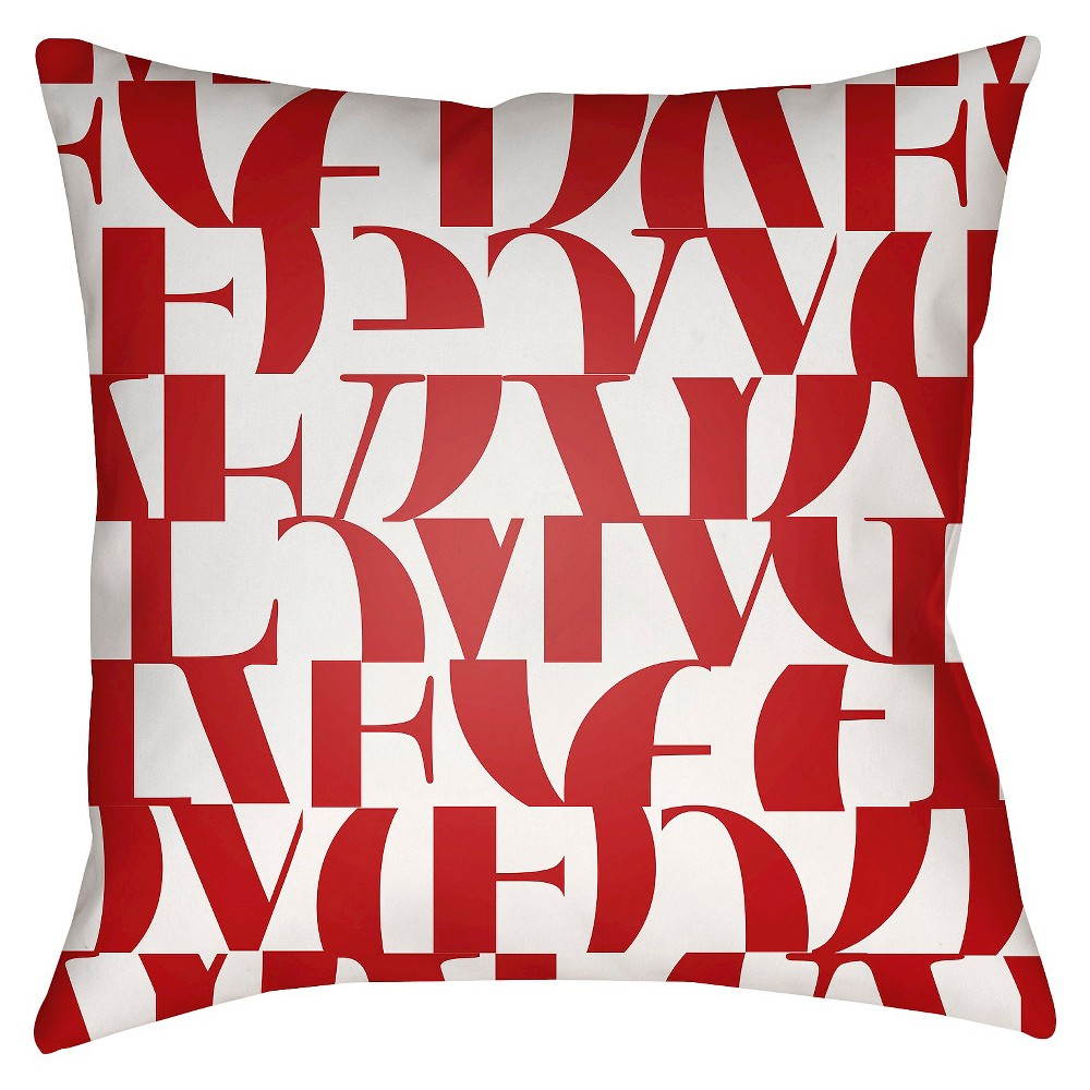Red Love Print Throw Pillow 20