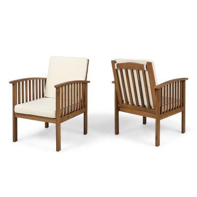 Casa 2pk Acacia Club Chairs - Brown/Cream - Christopher Knight Home