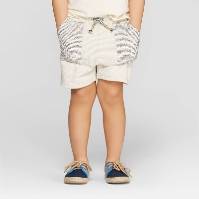 Toddler Boys' Stripe Knit Pull-On Shorts - art class™ Ivory/Black 3T