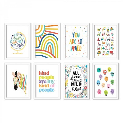 (Set of 8) Inspirational Playrooms by Chaos & Wonder Design  Gallery Framed Decorative Wall Art Set