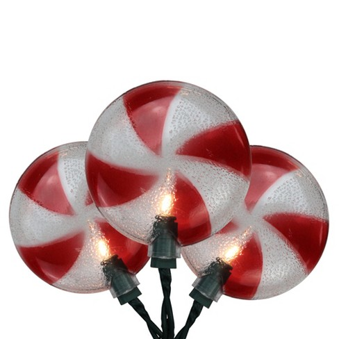Northlight 10ct Peppermint Candy Shaped Christmas Lights Clear - 6' Green Wire - image 1 of 1