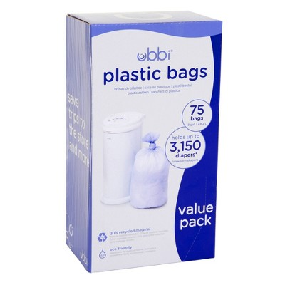 Ubbi Plastic Diaper Pail Bags - White - 75ct