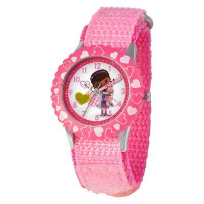 Girls' Disney Doc McStuffins Stainless Steel Time Teacher Watch - Pink
