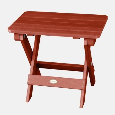 Adirondack Folding Patio Side Table Rustic Red - highwood
