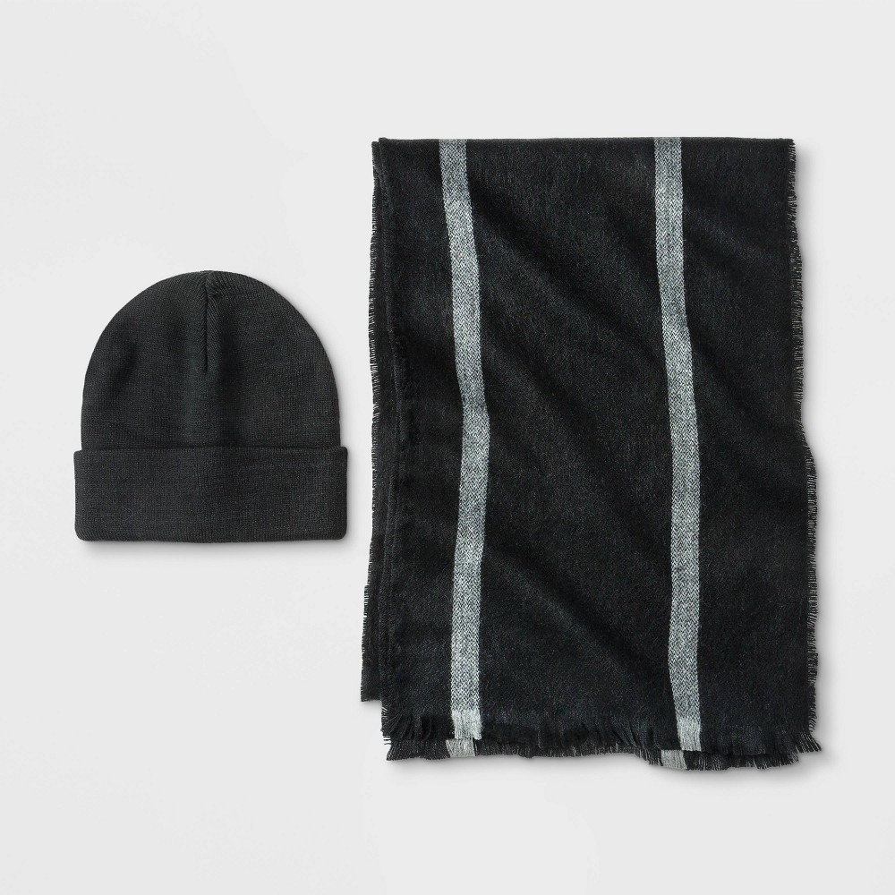 Image of Men's Vertical Striped Scarf + Beanie Set - Goodfellow & Co Black/Gray One Size, Men's
