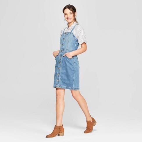 Women's Sleeveless Scoop Neck At Knee Apron Denim Dress - Universal Thread™ Light Blue - image 1 of 3