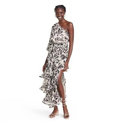 Botanical One Shoulder Ruffle Dress - ALEXIS for Target Black