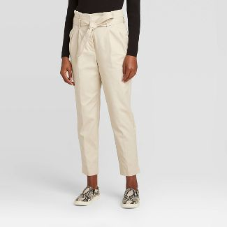 Women's Belted Paperbag Ankle Length Utility Pants - Prologue™ Cream 10