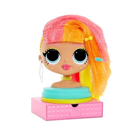 L.O.L. Surprise! O.M.G. Styling Head Neonlicious with Stick-On Hair image number null