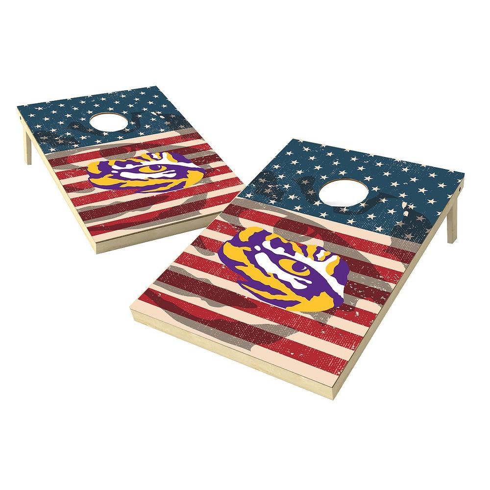 NCAA 2x3 Tailgate Toss Platinum College Lsu Tigers Sas Worn Shadow Design, Purple/Gold