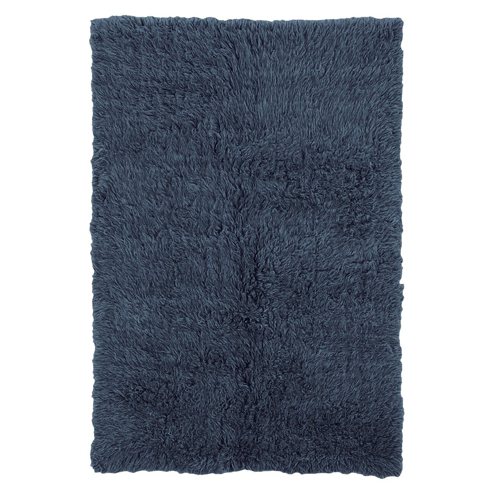 Image of 100% New Zealand Wool Flokati Accent Rug - Denim Blue (4'X6')