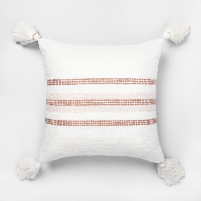 "18"" x 18"" Center Slub Stripe Throw Pillow Rose Gold / Sour Cream - Hearth & Hand™ with Magnolia"