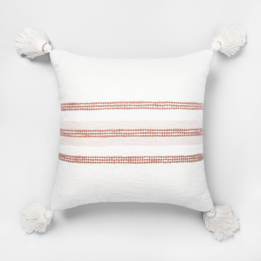 "Image of ""18"""" x 18"""" Center Slub Stripe Throw Pillow Rose Gold / Sour Cream - Hearth & Hand with Magnolia"""