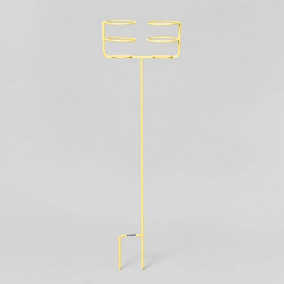 Double Beverage Holder Ground Stake - Yellow - Sun Squad™