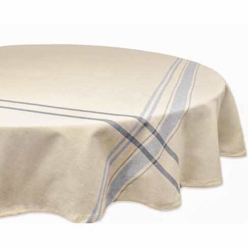 """70""""R Nautical French Stripe Tablecloth Blue - Design Imports - image 1 of 4"""
