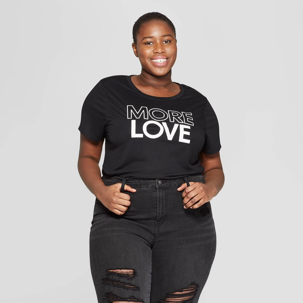 Women's Plus Size Short Sleeve More Love Graphic T-Shirt (Juniors') - Black 1X