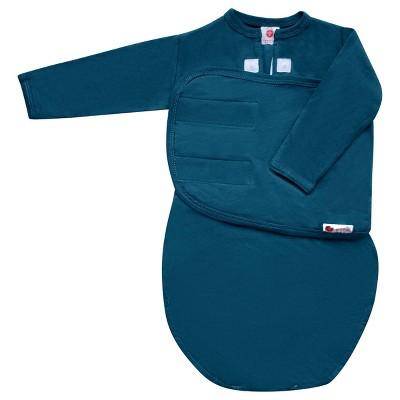 embé Starter Long Sleeve Swaddle with Fold Over Mitts - Spruce Blue