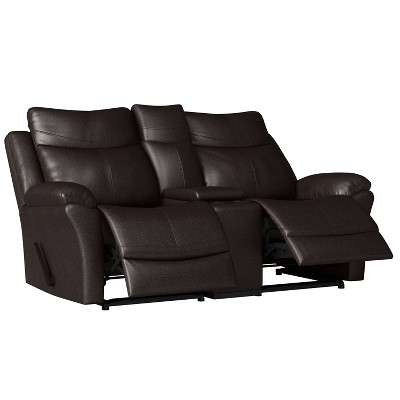Aaron 2 Seat Wall Hugger Recliner Loveseat with Power Storage Console Renu Leather Coffee Brown - ProLounger