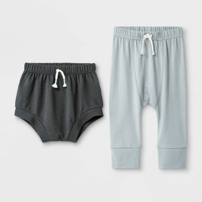 Baby Boys' 2pc Span Jersey Leggings Pants and Shorts Set - Cat & Jack™ Light Gray/Black 0-3M