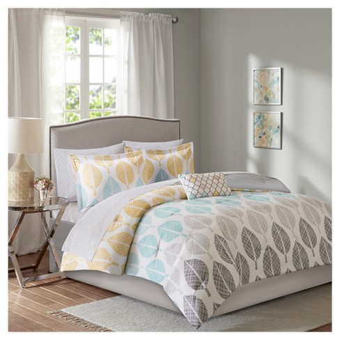 Yellow/Aqua Prospect Park Complete Comforter Set ...