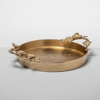 "18"" x 4.2"" Cast Brass Decorative Floral Tray Gold - Opalhouse™"