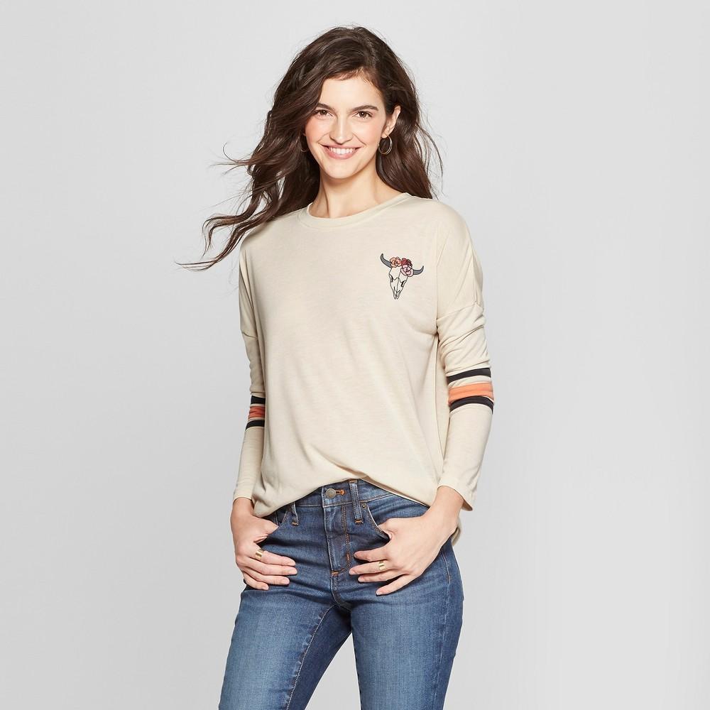 Women's Long Sleeve Skull Graphic T-Shirt - Mighty Fine (Juniors') Gray XL