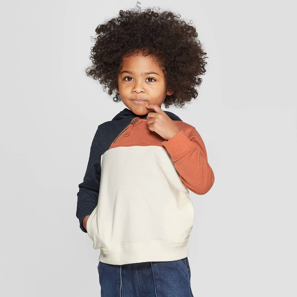 Genuine Kids from Oshkosh Toddler Boys' Color-Block Hoodie - Cream 4T, Beige
