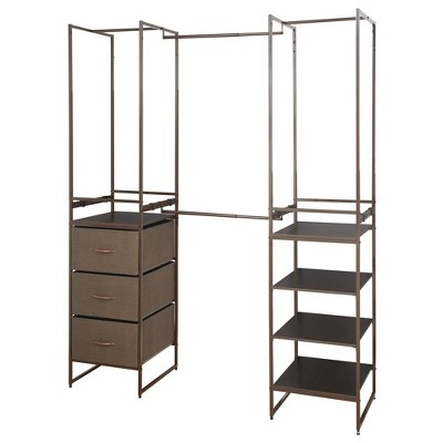 mDesign Closet Organizer System, 3-Drawer, 4 Garment Racks, 5-Shelf