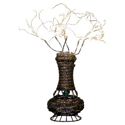 "20"" Novelty Rattan Table Lamp with Branches (Includes LED Light Bulb) Brown - Ore International"
