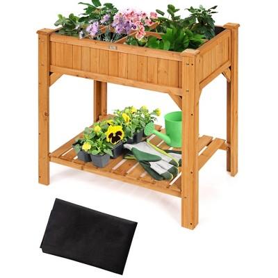 Costway 8 Grids Raised Garden Bed Elevated Planter Box Kit Wood w/Liner & Shelf