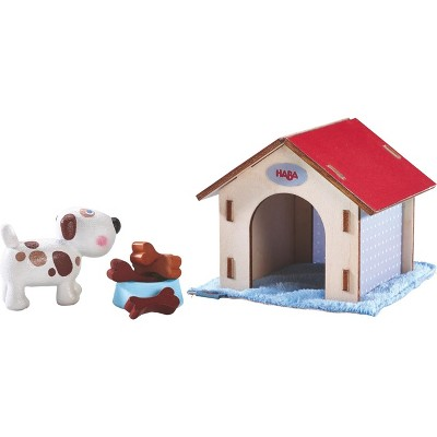 HABA Little Friends Dog Lucky - Pet Toy Figure with Doghouse & Wooden Bones