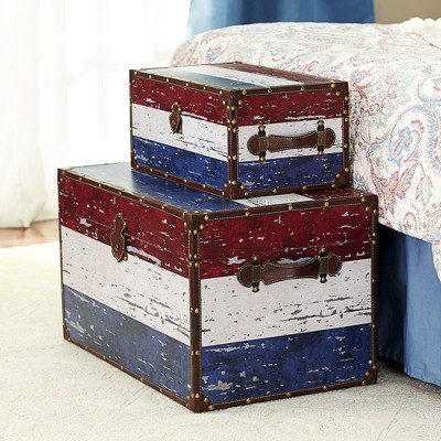 Superieur Household Essentials® Striped Wood Storage Trunks   Red And Blue Striped  (Set Of 2) : Target