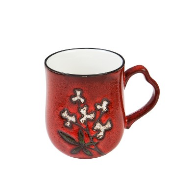 Evergreen Cypress Home Artisan Series Cup 10oz. Red Wistful Floral
