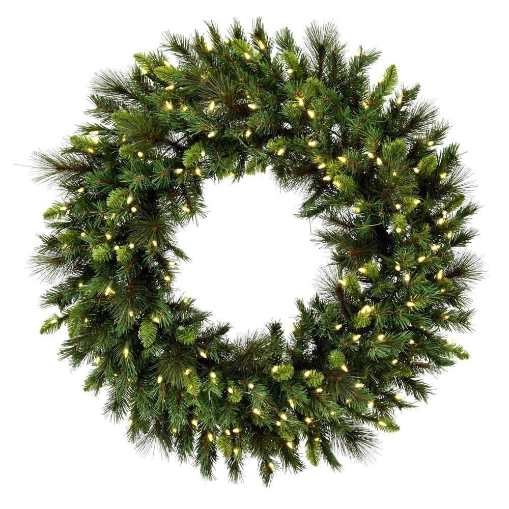 "Image of ""Vickerman 48"""" Bangor Mix Pine Wreath with 300 Warm White Dura-Lit LED lights"""