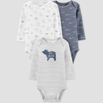 Baby Boys' 3pk Long Sleeve Bear Bodysuits - Just One You® made by carter's Gray 3M