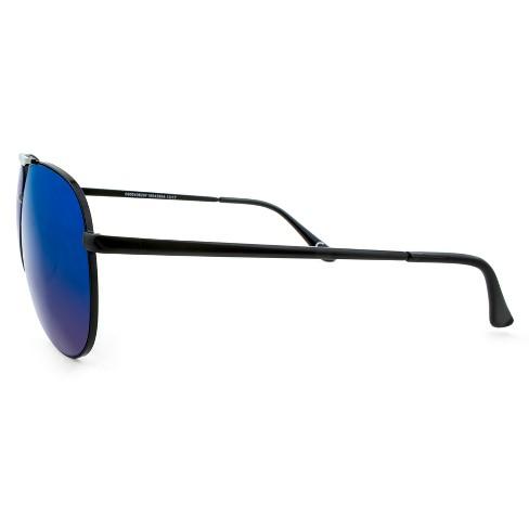 ee40e9070754 Men's Aviator Sunglasses With Blue Mirrored Lenses - Matte Black ...