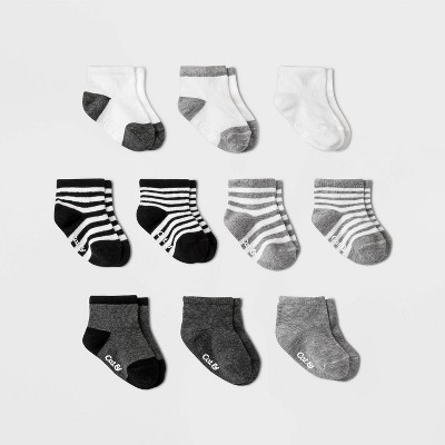 Baby Boys' 10pk Ankle Socks - Cat & Jack™ Black/Gray 6-12M