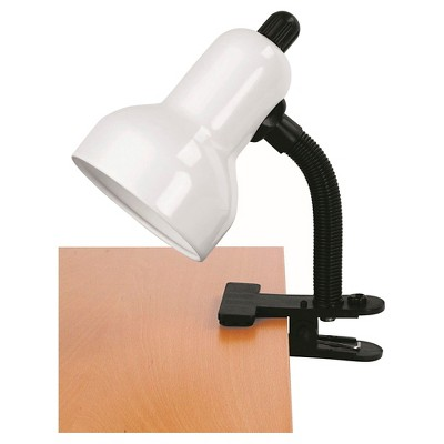 Clip-On 1 Light Desk Lamp with White Shade - Lite Source