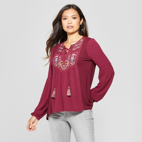 Womens Long Sleeve Embroidered Lace Up Top Knox Rose Blackberry