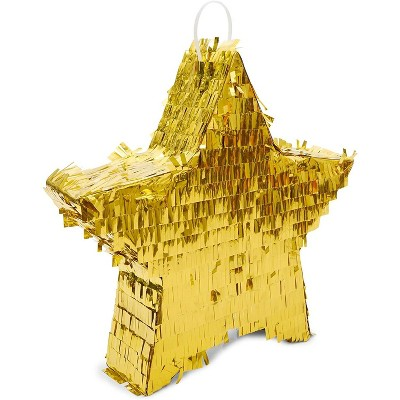 Gold Foil Star Pinata for Kids Birthday, Twinkle Little Star Baby Shower, Outer Space Party Supplies and Decorations, Small 13 x 3 inches