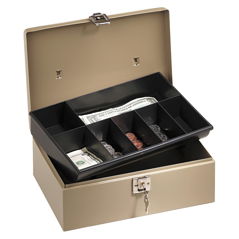 PM Company SecurIT Lock'n Latch Steel Cash Box w/7 Compartments, Key Lock, Pebble Beige, Gray