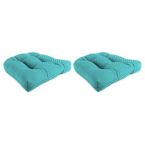 Outdoor Set Of 2 Wicker Chair Cushions In Mini Dots Ocean  - Jordan Manufacturing - image 1 of 1