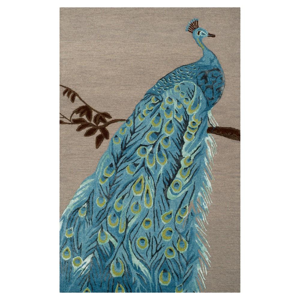 Blue/Beige Floral Tufted Area Rug 4'X6' - Safavieh