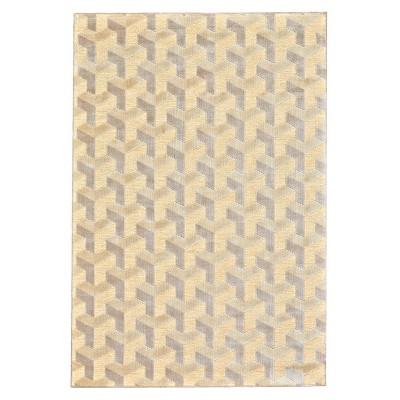 "5'3""X7'6"" Geometric Woven Area Rugs Cream/Silver - Weave & Wander"