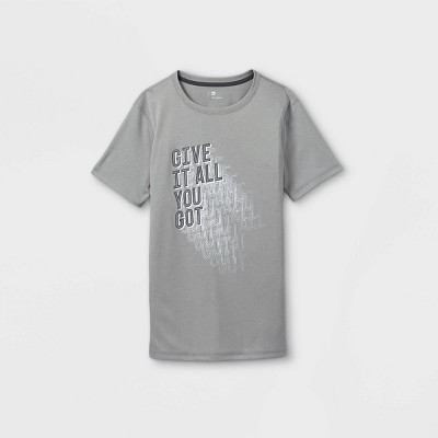 Boys' Short Sleeve 'Give It All You Got' Graphic T-Shirt - All in Motion™ Gray